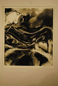 Monotype print in black and white with an abstract setting by Sterling Vanderhoof