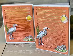 Stampin' Up! 2018-2019 Catalog Shimmery Lillypad Lake with Glimmery Brusho Sunset - fun summer card inspired by water! easy tutorial video. Get a free catalog in May!