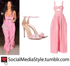 Buy Rihanna's Pink Cutout Jumpsuit and Sandals! Rihanna Looks, Rihanna Style, Work Fashion, Trendy Fashion, Fashion Outfits, Yellow Pants Outfit, Triangle Body Shape, Pink Jumpsuit, Future Wife