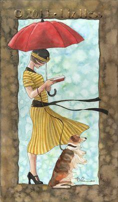 Read more … against wind illustration by Liz Hess Art And Illustration, Illustrations, Reading Art, Woman Reading, Image Avatar, Umbrella Art, World Of Books, I Love Books, Female Art