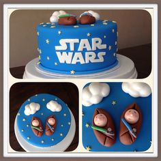 Star Wars baby shower cake for twin boys