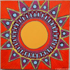Sunshine by stephanie smith sun art, mandala art, sun mandala, sun moon stars Mandalas Painting, Mandalas Drawing, Sun Mandala, Mandala Art, Good Day Sunshine, Sun Designs, Sun Moon Stars, Sun Art, Moon Design