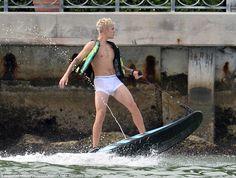 Briefs: Pop star Justin Bieber skipped swim trunks in favor of Calvin Klein underwear while wakeboarding in Miami on Sunday