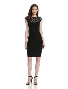 Evan Picone Women's Matte Jersey and Lace Sheer Yoke Dress, Black, 12 $79.00 #EvanPicone #Dresses #Skirts