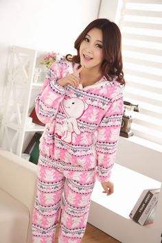 Autumn/Winter Pajamas set For Women Panda Coral Flannel Animal ...