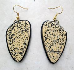 Polymer Clay Earrings, Textured Earrings, Ecru Earrings, Black Earrings, Jewelry, Handmade, Polymer Clay Earrings, Gift for her, Mom Gift by CreativeArtCenter on Etsy https://www.etsy.com/listing/287657031/polymer-clay-earrings-textured-earrings
