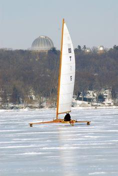 Ice boat on Lake Geneva.