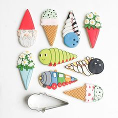 National Ice Cream Cone Day is over but there is so much moe fun to be had with that shape! Check out these ideas from my book, You Can't Judge a Cookie by Its Cutter,  or come up with some of your own!