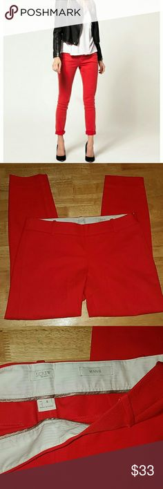 """J.Crew Stretch """"Minnie"""" Cropped Pants """"Magic Pant"""" why? because the color and fit are magical! Bright red with a dash of orange. Zipper on side. Chic and Sexy! 95% Cotton 5% Spandex you can dress up these pants with about any color! EUC. J. Crew Pants Ankle & Cropped"""