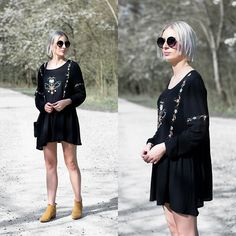 Get this look: http://lb.nu/look/8666813 More looks by Nena F.: http://lb.nu/turnitinsideout Items in this look: Moth Clothing Dress, Primark Sunglasses, Zara Ankle Boots #bohemian #casual #chic