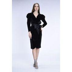 Rochie midi eleganta din catifea, cu maneca lunga si funda din tafta in talie, inchizatoare ascunsa, umeri bufanti. Dresses For Work, Fashion, Atelier, Moda, Fasion, Trendy Fashion, La Mode