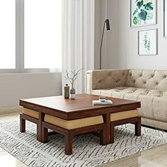 Balcony Furniture, Iron Furniture, Solid Wood Furniture, Home Decor Furniture, Coffee Table With Stools, Solid Wood Coffee Table, Walnut Coffee Table, Coffee Tables, Centre Table Living Room