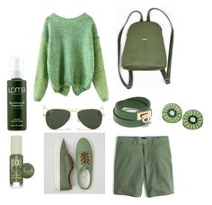 """""""GREEN"""" by lana-smotveeva ❤ liked on Polyvore featuring American Eagle Outfitters, Salvatore Ferragamo, Pixi, Loma, Ray-Ban, women's clothing, women's fashion, women, female and woman"""