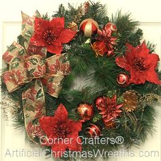 Christmas Poinsettia Accent Wreath - 2013 - A beautiful Christmas Poinsettia Accent Wreath with vibrant poinsettias, gift wrapped packages, Christmas balls, pine cones and more... on a traditional fir wreath base.  Measuring app. 18 inches across, our Christmas Poinsettia Accent Wreath is perfect for windows, doors, walls, as a lovely Christmas table centerpiece and more. - #ArtificialChristmasWreath #ChristmasWreath #Wreath #Wreaths #Poinsettia #PoinsettiaWreath