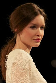 NYFW13 -marissawebb  Slightly bronzed cheeks, low combed pony and rosy lips. Perfection