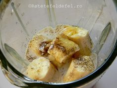 budinca de banane cu seminte de chia Raw Vegan, Shake, Oatmeal, Breakfast, Food, Banana, The Oatmeal, Morning Coffee, Smoothie