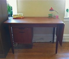 Mid Century Arne Vodder Teak Wood Desk with Leaf - Kerberos :: $850