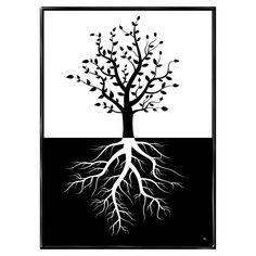 Stærke rødder har træer i blæst, plakat