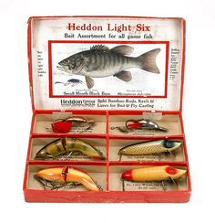Heddon Light-Six Lure Box Includes two Baby Vamps, two Baby Gamefishers and two Ace Spoons.