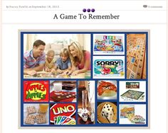 A Game To Remember: As the days not only become shorter but also colder, I find myself searching for indoor activities to do with my family & friends. Here are all the essentials for a family game night!