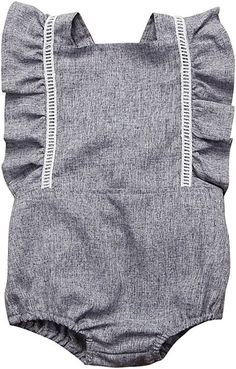 19ff26d1a911 Amazon.com  Mornbaby Newborn Girl Clothes Baby Girl Ruffles Romper Lace  Sleeveless Outfit Grey Bodysuit Clothes (Grey