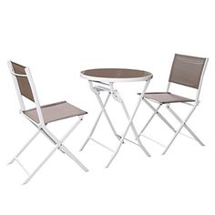 3 PC Folding Brown Bistro Set Outdoor Garden Table Chairs Patio Furniture Steel -- Find out more about the great product at the image link.