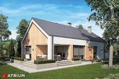 Pelikan Slim V. Parterowy dom z dużą kotłownią i tarasem. Barn House Design, Workshop Shed, Gable Roof, Gable House, One Story Homes, Apartment Plans, Modern Barn, Story House, Modern Exterior