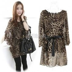 $9.20 Korean Womens Ladies Loose Leopard Print Chiffon 1/2 Batwing Sleeve Dress
