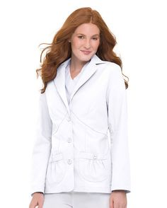 Labcoat W/Three Buttons And Shirred Pockets, in navy blue of coarse!