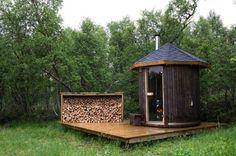 "Sauna in Røros, Norway - the ultimate backyard ""shed"" Diy Sauna, Sauna Ideas, Outdoor Sauna, Outdoor Decor, Design Sauna, Design Design, Interior Design, Lillehammer, Sauna Room"