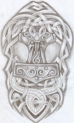 DeviantArt: More Like Thor's Hammer Tattoo by Norse Mythology Tattoo, Norse Tattoo, Thors Hammer Tattoo, Thor Tattoo, Armour Tattoo, Buddha Tattoos, Celtic Tribal, Celtic Art, Irish Tattoos