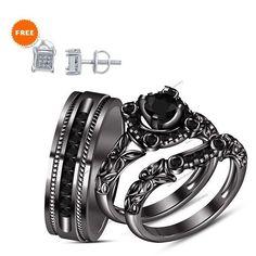 1-1/3 CTW I1-I2 Diamond With 14K Black Gold Womens & Men's Wedding Trio Ring Set #br925silverczjewelry