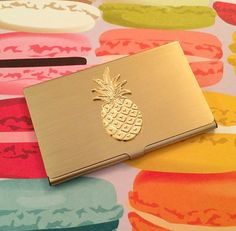 Gold Pineapple Business Card Holder // Chic Pineapple Office