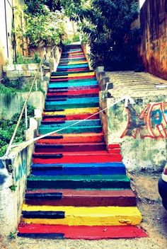 rainbow piano keys painted steps   Ascend as you ascend. #piano #staircase #humor