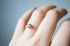 one-of-a-kind Champagne Diamond Collet Engagement Ring by S. Kind & Co.