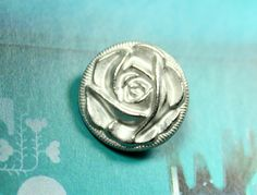 Rose Bud Metal Buttons , Silver Color , Shank , 0.59 inch , 10 pcs by Lyanwood, $5.00