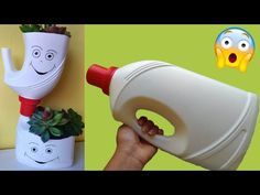 Plastic Bottle Planter, Reuse Plastic Bottles, Plastic Bottle Crafts, Bottle Garden, Diy Bottle, Recycled Garden, Recycled Crafts, Art Drawings For Kids, Paper Crafts