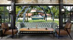 Rustic, grungy, vintage, industrial cafe interior design