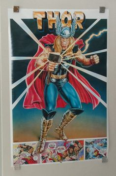 Rare vintage original 1977 Marvel Comics 35 x 23 The Mighty Thor Thought Factory comic book superhero poster 1: 1970's Marvelmania/ Avengers. 1000's more rare vintage original Marvel & DC Comics posters and Official colorist's color guide art pages (used in the production of the actual Marvel & DC comic books), at SUPERVATOR.COM and at SUPERVATORCOMICPOSTERSANDART.COM