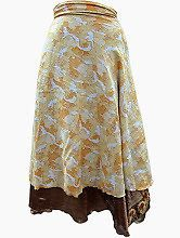 Easy Breezy Silk Sari Wrap Skirt Yellow Gold | eBay
