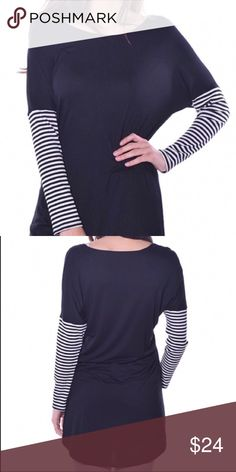 🆕Striped Tunic - Black & White Soft & Cozy. 95% Viscose. 5% Spandex. Made in USA. Pastels Clothing Tops Tunics