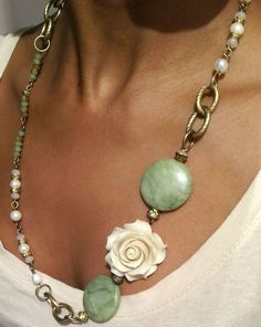 "Peaceful Melody Necklace $59 Jade semi-precious stones, crystal beads, freshwater pearls, brass chain links, approx 22"" long, antique gold plated bead caps, organic, One-of-a-kind, Bel Moun Collection, Made in Toronto"