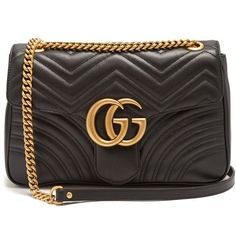 Gucci GG Marmont medium quilted-leather shoulder bag (6,860 SAR) ❤ liked on Polyvore featuring bags, handbags, shoulder bags, black, monogrammed handbags, gucci, gucci shoulder bag, shoulder bag purse and quilted handbags