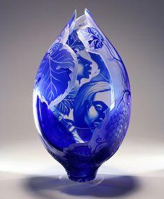 Etched Art-Glass Sculpture by Lisabeth Sterling - Dreamlike figurative work♥ Broken Glass Art, Sea Glass Art, Stained Glass Art, Fused Glass, Blown Glass, Glass Etching, Etched Glass, Glass Engraving, Himmelblau