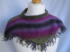 womans mini-cape fringed cowl knitted neckwarmer by FeltFunky