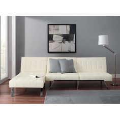 Emily Futon With Chaise Lounger Super Bonus Set Vanilla White
