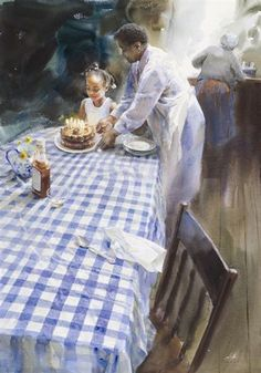 "Mary Whyte: ""Birthday"", watercolor."