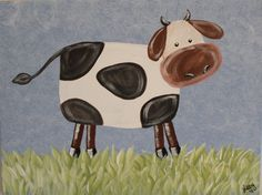 Grazin' Cow 16x20 painting by libbyoswald on Etsy, $45.00