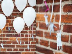 70 DIYs to Add Personality and Style to Your Wedding: Add gold dots to linen napkins to make your tablesettings stand out.  : Creating a photo table runner is a great alternative to framing sentimental photos.  : These flying couple balloons are great for adding an unexpectedly whimsical personal element to your wedding décor.