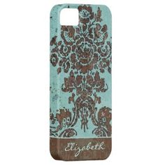 Vintage Damask Pattern with Area for Name iPhone 5 Covers